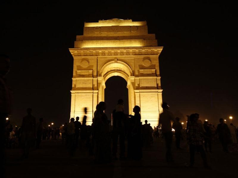 An illuminated India Gate before observing Earth Hour in New Delhi. HT Photo by Arijit
