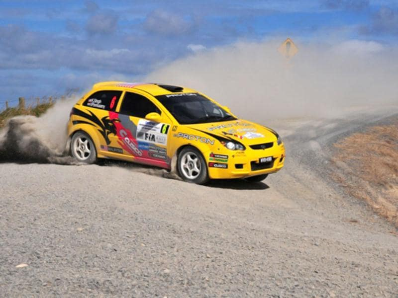 Former three-time APRC and 2002 PWRC champion Karamjit Singh was by far and away the class of the field amongst the two-wheel drive cars in his Proton Satria Neo. HT Photo/Vinayak Pande