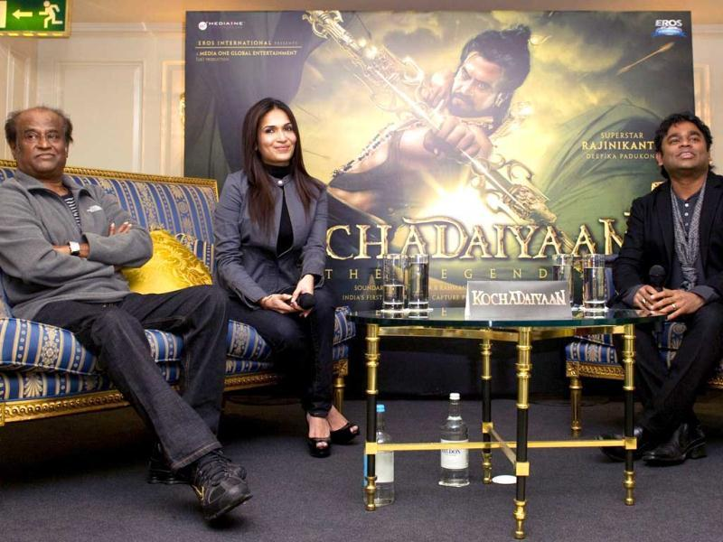 (L-R) Actor Rajnikanth, director Soundarya, music composer AR Rahman and producer J. Murali Manohar pose during the promotion of their film Kochadaiyaan.