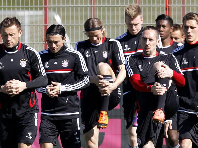Bayern Munich players practice during a training session in Munich, southern Germany. AP Photo/Matthias Schrader