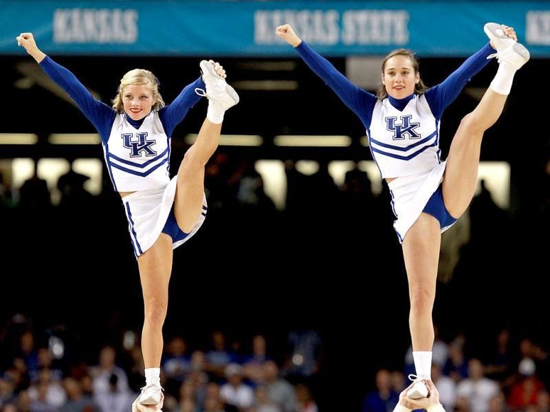 Cheerleaders from the Kentucky Wildcats perform before the National Championship Game of the 2012 NCAA Division I Men's Basketball Tournament at the Mercedes-Benz Superdome in New Orleans, Louisiana. Ronald Martinez/Getty Images/AFP