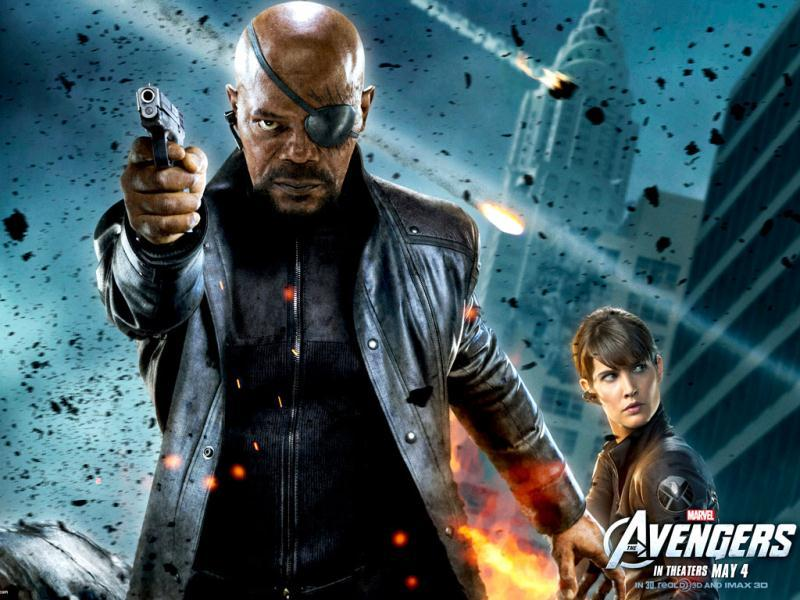 Samuel L. Jackson as Nick Fury and Cobie Smulders (behind) as Maria Hill.