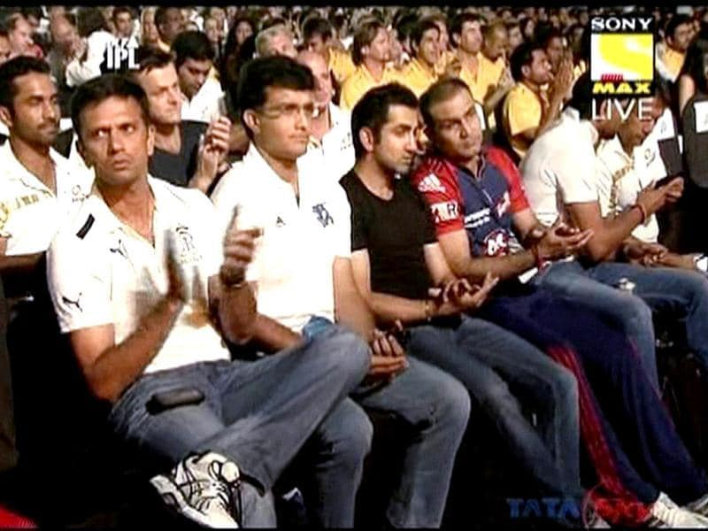 Captains of IPL5 teams during the opening ceremony of the Indian Premier League in Chennai. PTI/TV grab