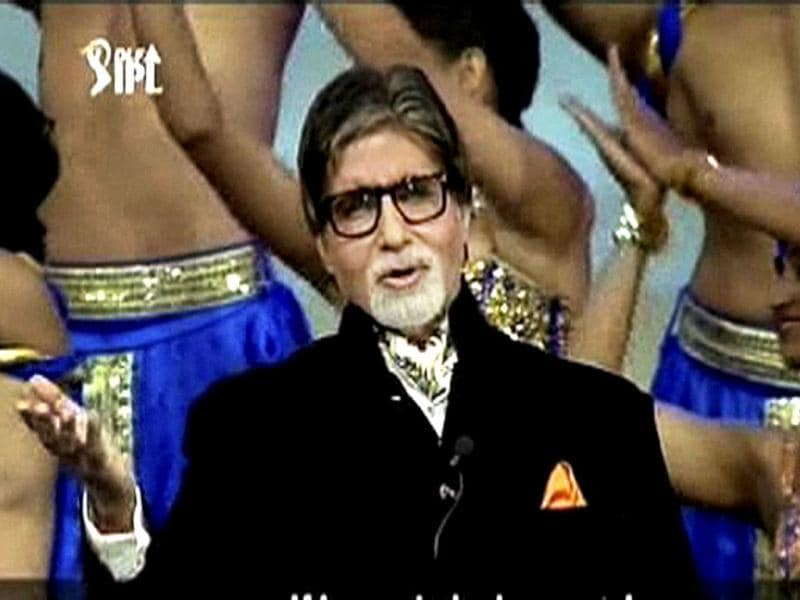Megastar Amitabh Bachchan recites a poem on cricket during the opening ceremony of the 5th edition of Indian Premier League in Chennai. PTI/TV grab