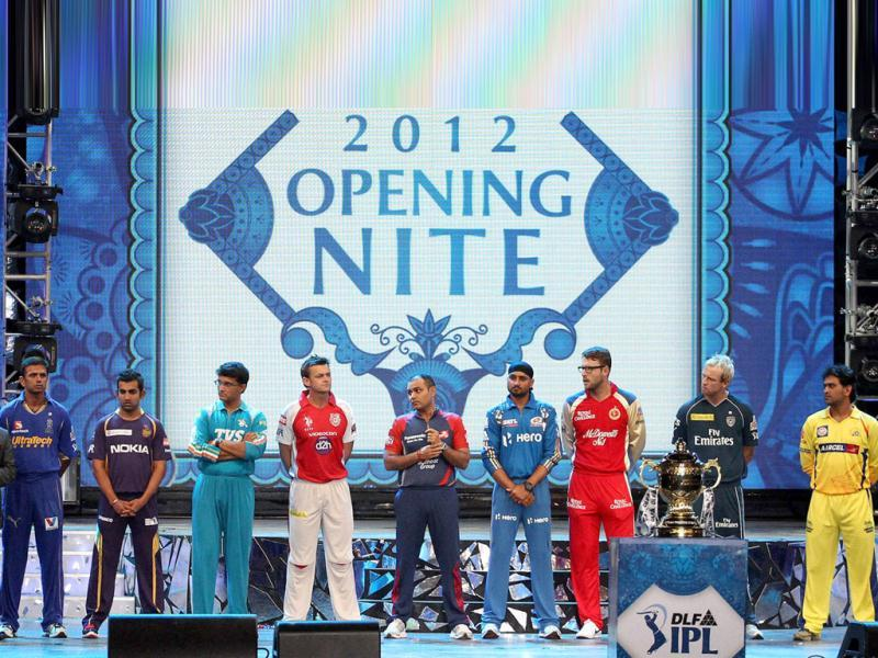 Nine captains of IPL playing teams pose during the opening night function and concert held at the YMCA College of Physical Education Grounds, Nandanam, Chennai. PTI photo