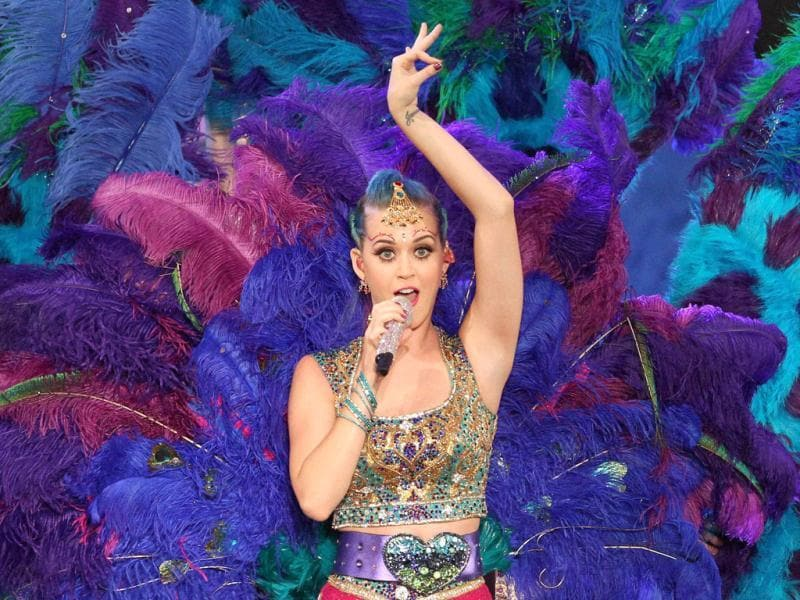 US singer Katy Perry performs during the opening function and concert held at the YMCA College of Physical Education Grounds, Nandanam, Chennai. PTI photo