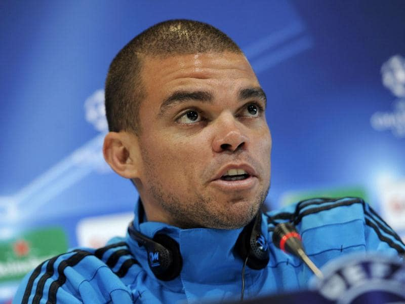 Real Madrid's Portuguese defender Pepe gives a press conference in Madrid, on the eve of their UEFA Champions League second leg quarter final football match against Apoel Nicosia. AFP/ Dani Pozo