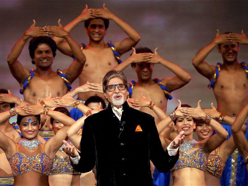 Superstar Amitabh Bachchan recites a poem on cricket during the opening ceremony of the 5th edition of Indian Premier League in Chennai. PTI Photo/IPL/SPORTZPICS