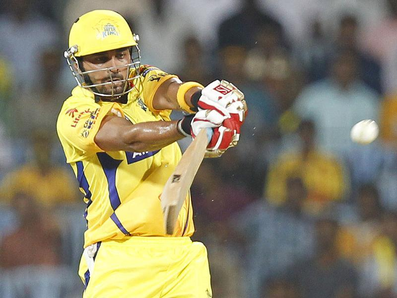 Chennai Super Kings batsman Murli Vijay plays a shot during Indian Premier League match against Mumbai Indians at MA Chidambaram Stadium in Chennai. HT Photo/Vijayanand Gupta