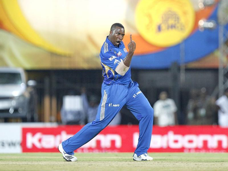 Mumbai Indian bowler Kieron Pollard celebrates the wicket of Chennai Super Kings batsmans Albie Morkel during their Indian Premier League 2012 match at the MA Chidambaram Stadium in Chennai. HT Photo/Vijayanand Gupta