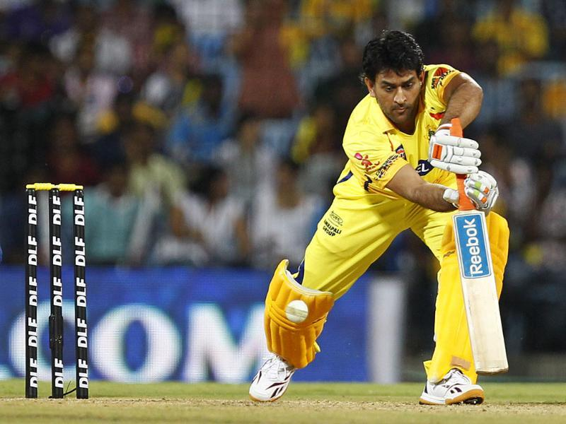 Chennai Super Kings captain MS Dhoni bats during the Indian Premier League 2012 match against Mumbai Indians at the MA Chidambaram Stadium in Chennai. HT Photo/Vijayanand Gupta