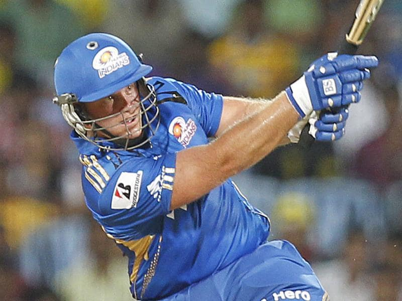 Mumbai Indians batsman Richard Levi plays a shot during the Indian Premier League 2012 match against Chennai Super Kings at the MA Chidambaram Stadium in Chennai. HT Photo/Vijayanand Gupta