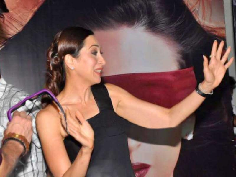 Karisma Kapoor looks excited while launching the first look trailer of Dangerous Ishq.