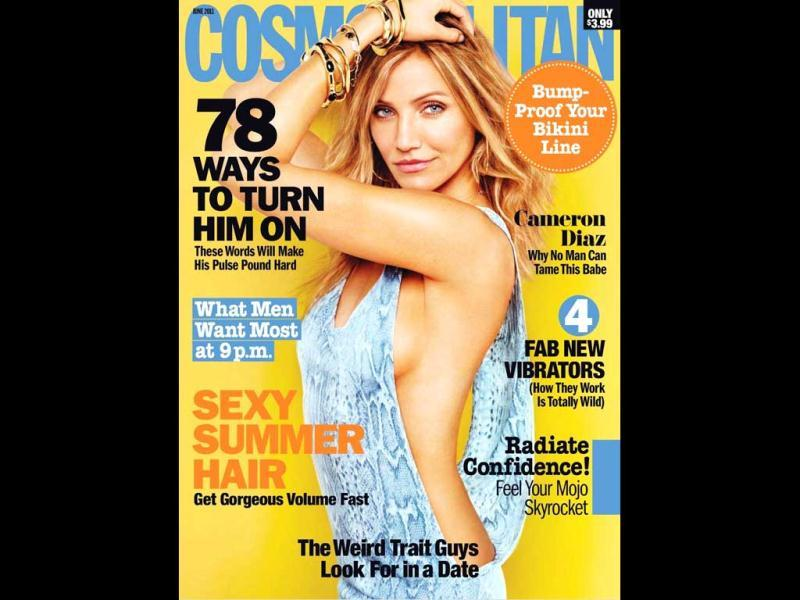 Cameron Diaz gives a sneak peek of her left boob on Cosmopolitan (June 2011) cover.