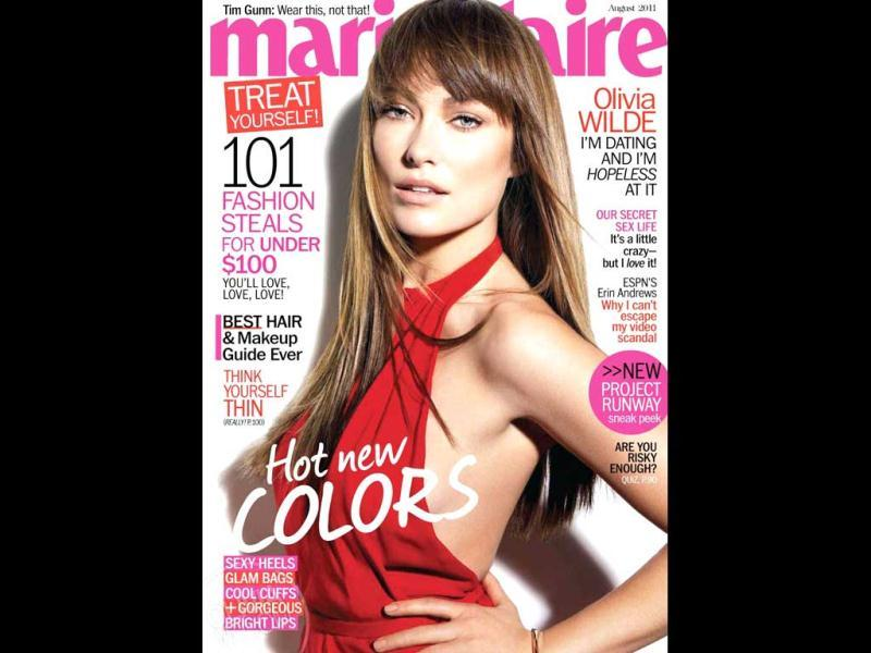 Olivia Wilde looks scintillating on Marie Claire (August 2011) issue.