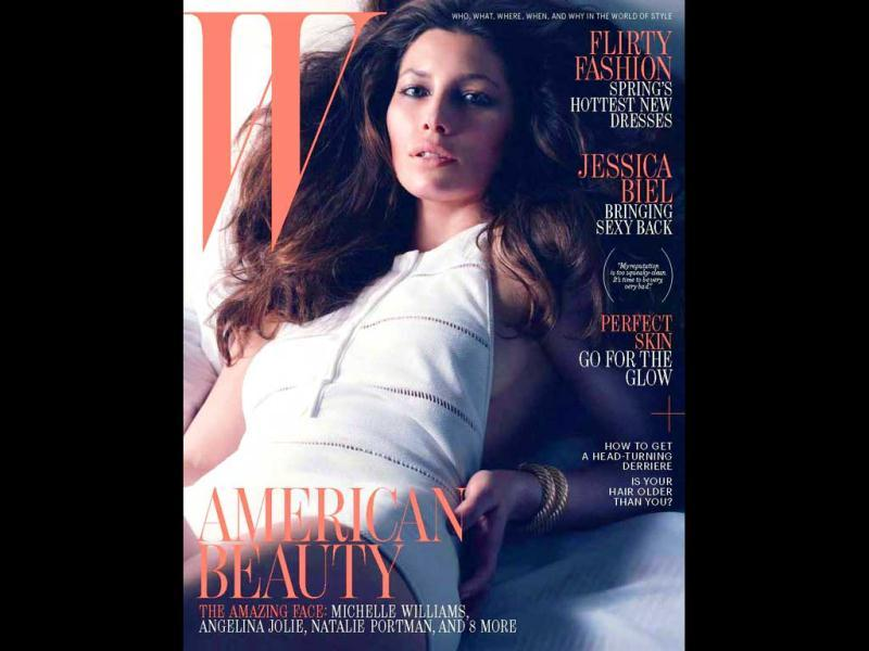 Jessica Biel gives a glimpse of her left asset on W Magazine (March 2012) cover.