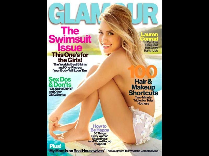 Lauren Conrad goes topless for Glamour (May 2012) and poses stylishly giving hint of her side boob.