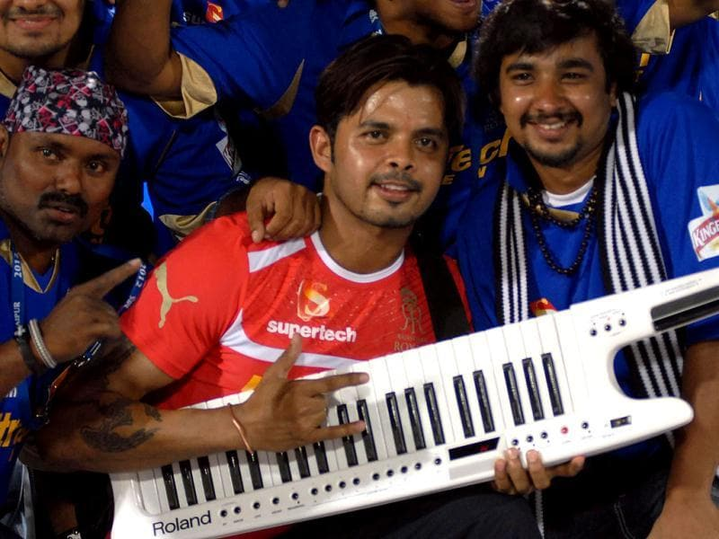 Rajasthan Royal's S Sreeshant with his band before the match start against Rajasthan Royal vs Kings XI Punjab on Friday in Jaipur.