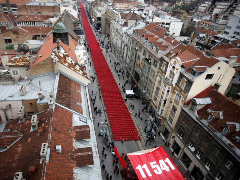 11,541 red chairs are pictured along Titova street in Sarajevo as the city marks the 20th anniversary of the start of the Bosnian war. Reuters photo/Dado Ruvic
