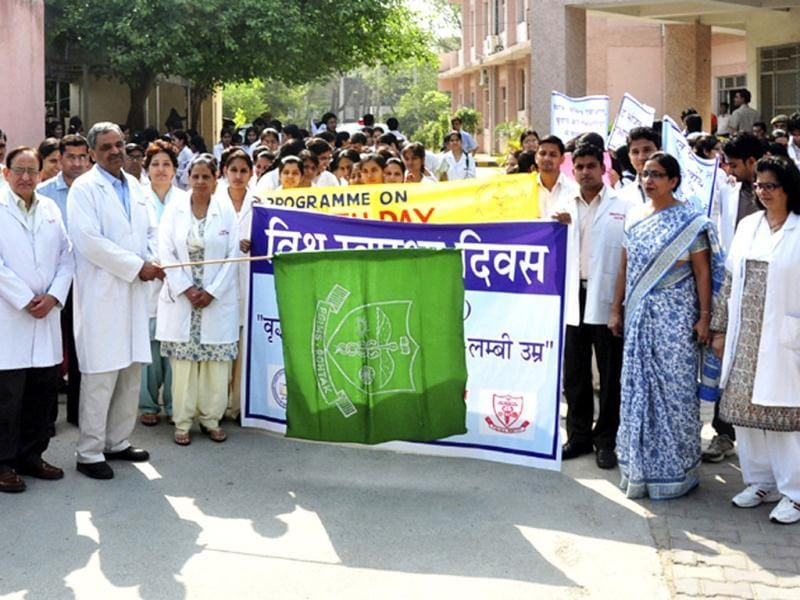 To spread awareness amongst people about health issues, the doctors of PGIMS in Rohtak on World Health Day, organised an awareness drive. HT Photo by Manoj Dhaka