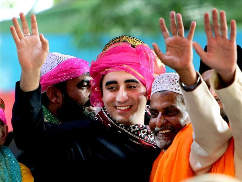 Pakistan President Asif Ali Zardari's son and Pakistan People's Party chief Bilawal Bhutto Zardari poses for a photograph while paying obeisance at the shrine of Khwaja Moinuddin Chishti in Ajmer. PTI
