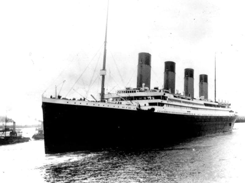 In this April 10, 1912, file photo, the liner Titanic leaves Southampton, England on her maiden voyage. Nearly 100 years after the Titanic went down, a cruise with the same number of passengers aboard is setting sail to retrace the ship's voyage, including a visit to the location where it sank. The Titanic Memorial Cruise is set to depart from Southampton, where the Titanic left on its maiden voyage. (AP Photo)