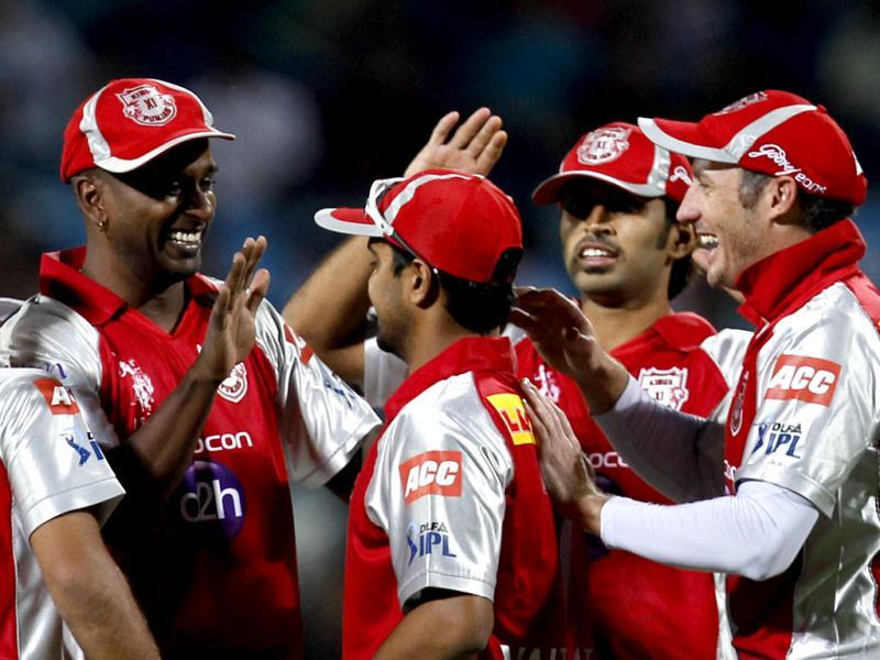 Kings XI Punjabs team player Dimitri Mascarenhas celebrate the first wicket of Pune Warriors captain Sourav Ganguly during the match between Pune Warrior India vs Kings XI Punjab at Subrata Roy Sahara Stadium, Pune. (HT Photo/Sattish Bate)