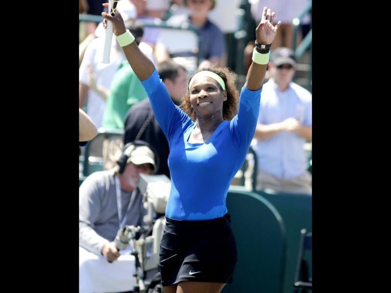 Serena Williams celebrates after defeating Lucie Safarova, of Czech Republic, during their finals match at the Family Circle Cup tennis tournament in Charleston, S.C., Sunday, April 8, 2012. Williams won 6-0, 6-1. AP