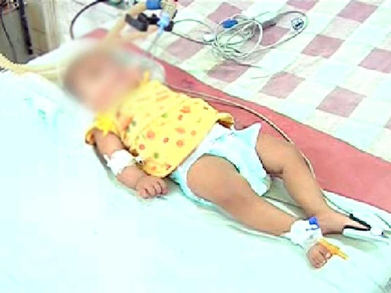 A TV grab of three-month-old baby Afreen, who was allegedly battered by her father for being born a girl and died of a cardiac arrest.