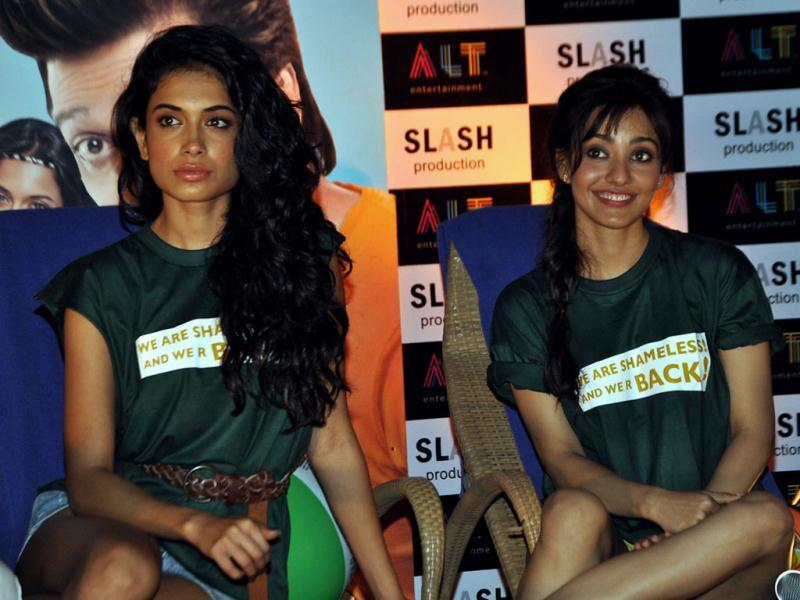 Actors Neha Sharma and Sarah Jane Dias during the promotion of their film. (AFP Photo)