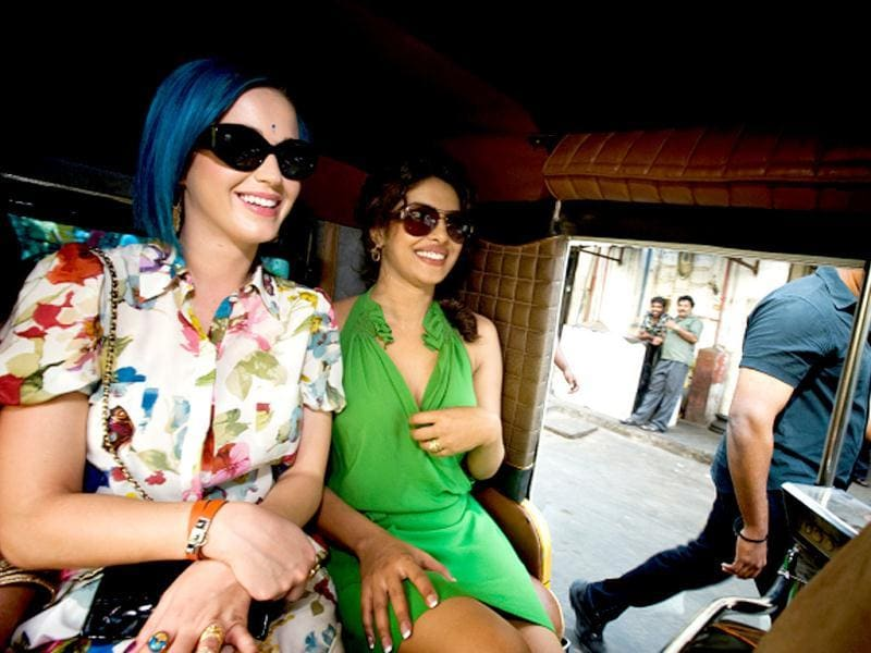 Katy Perry and Priyanka Chopra in an autorickshaw in Chennai. Katy Perry performed at the opening ceremony of IPL.