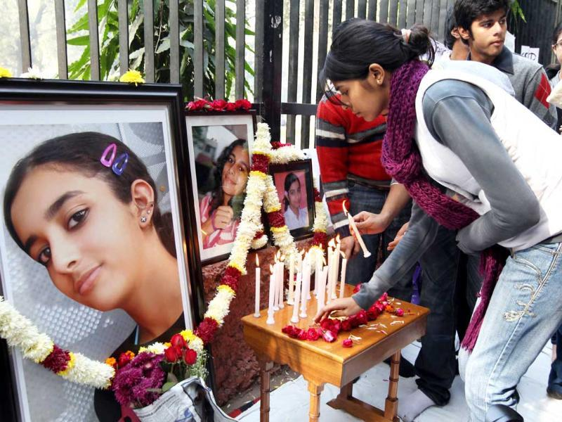 On 16th May 2008, Aarushi Talwar, daughter of a dentist couple, was found dead in the bedroom of her flat in Jalvayu Vihar, Noida. Next day domestic help Hemraj's body was found on the terrace of Talwar's house. (HT Photos)