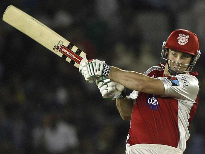 Kings XI Punjab's Shaun Marsh plays a shot against Pune Warriors during their IPL-5 match in Mohali. PTI Photo/man Sharma