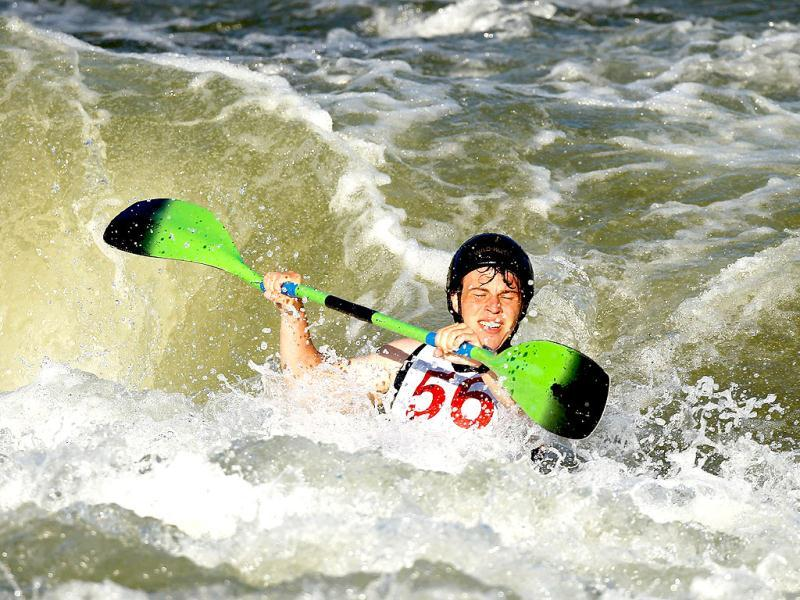 Simon Ranagan #56 competes in the Men's K1 of the 2012 US Olympic Trials for Whitewater Slalom at the US National Whitewater Center in Charlotte, North Carolina. AFP photos