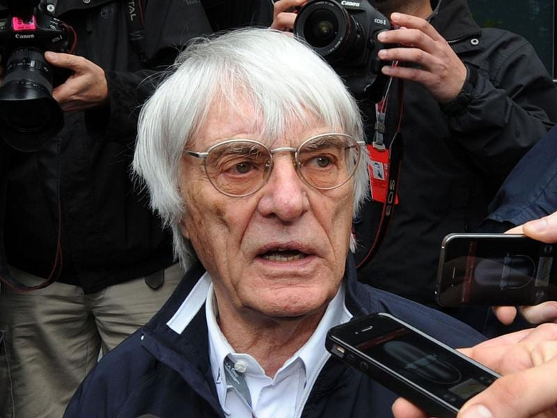 Formula One supremo Bernie Ecclestone speaks to the media after meeting with Formula One team officials to discuss the Bahrain F1 race at the Shanghai International Circuit. Formula One teams are reportedly reluctant to race in Bahrain this season amid ongoing concerns over security in the country. AFP Photo/ Mark Ralston