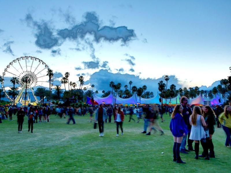 People enjoy at the 2012 Coachella Valley Music and Arts Festival held at The Empire Polo Field in Indio, California. Getty Images/AFP