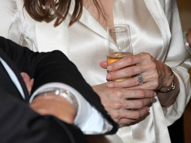 Actress Angelina Jolie, sports an engagement ring as she and Brad Pitt, view works from the Chinese collection at the The Los Angeles County Museum of Art, in Los Angeles. AP Photo/Robert Procop, The Communications Group