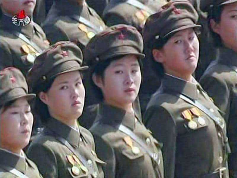 Female North Korean soldiers take part in a mass parade to celebrate founder Kim Il-sung's 100th birthday in Pyongyang in this still image taken from a video. North Korea's leader Kim Jong-un led celebrations on Sunday to mark the centenary of the birth of his grandfather, the founder of the world's only Stalinist monarchy,