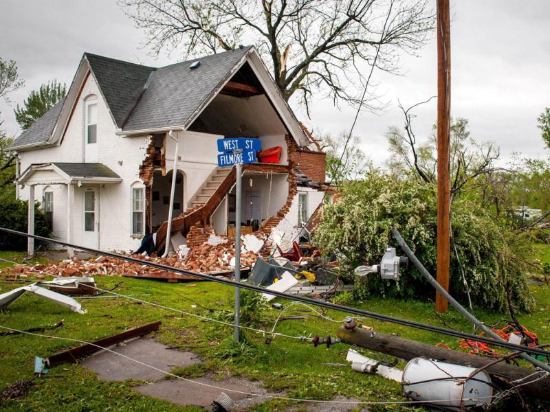 Damage from an apparent tornado in Thurman, Iowa. The storms were part of a massive system that affected areas from Northern Nebraska south through Oklahoma.  Eric Francis/Getty Images/AFP