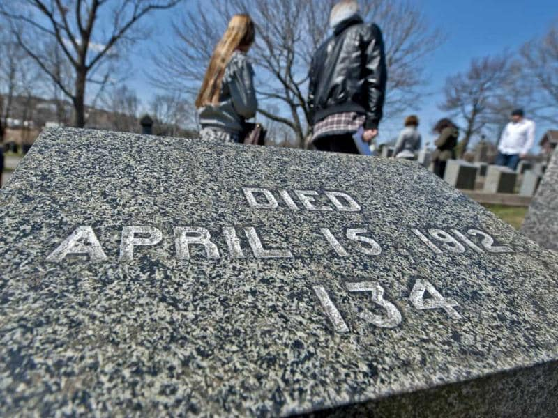 People gather at Fairview Cemetery in Halifax remembers the one hundred and twenty-one victims of the RMS Titanic buried at the site. Halifax, the nearest port city when the Titanic sank on April 15, 1912, is marking the 100th anniversary of the accident. (AFP/Rogerio Barbosa)