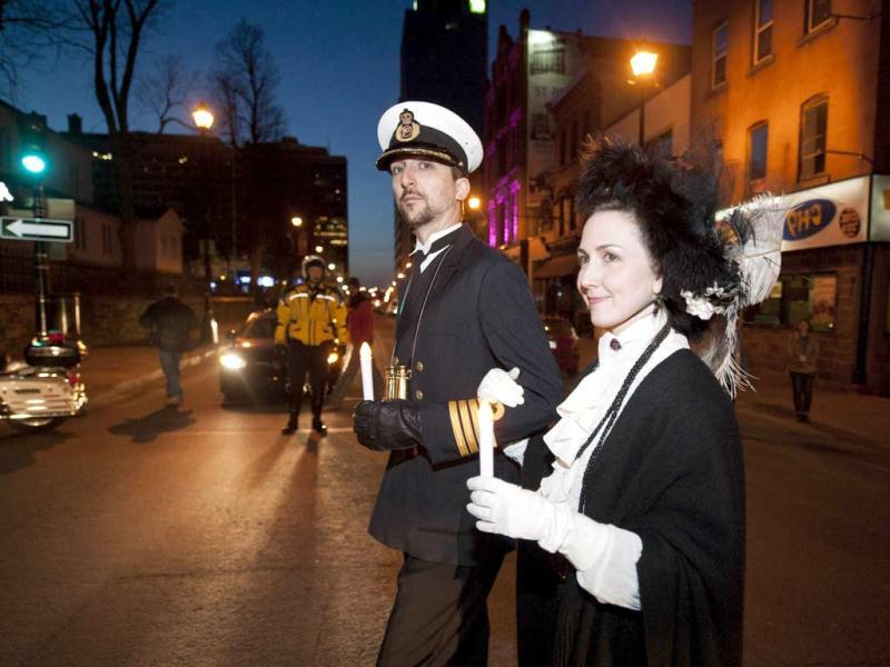 People gather at Halifax remember Titanic sinking with funeral procession, song and performance Night of the Bells event in the Grand Parade square to mark the sinking of the RMS Titanic. AFP/Rogerio Barbosa