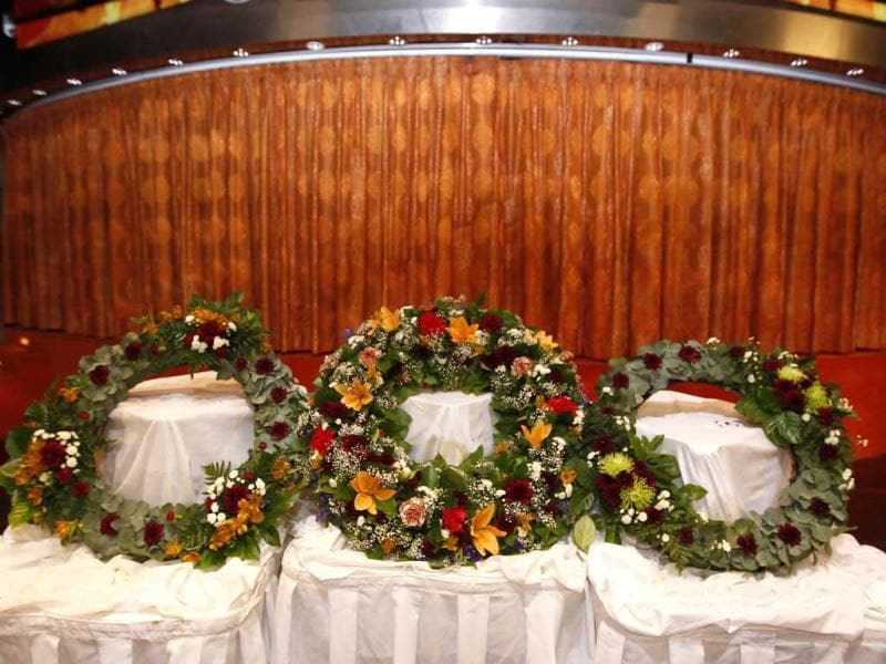 Three wreaths are seen before a memorial service on board the MS Balmoral in the western Atlantic Ocean. Reuters/Chris Helgren