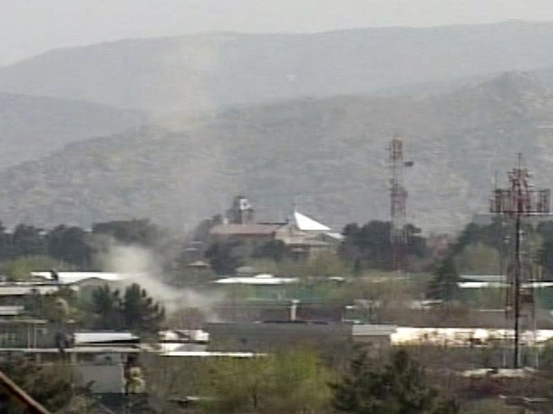 (Video grab) Smoke rises from government buildings, western embassies and Nato bases in Kabul, Afghanistan, following attacks by Taliban militants. AP photo