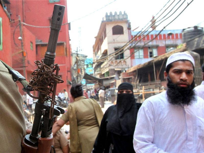Tight security in Jama Masjid area during MCD elections in New Delhi. PTI Photo by Atul Yadav