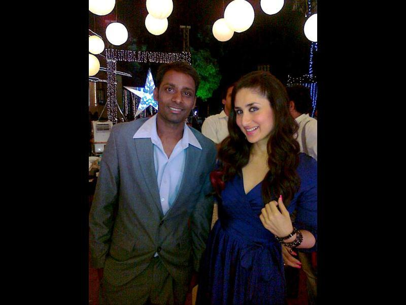 Kareena with a fan on the sets of Ek Main Aur Ekk Tu.