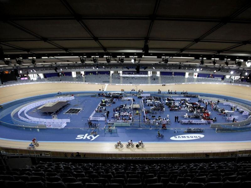 This file photo shows a general view of the London 2012 Olympic Velodrome, at the Olympic park in London. (AP Photo/Alastair Grant, File)
