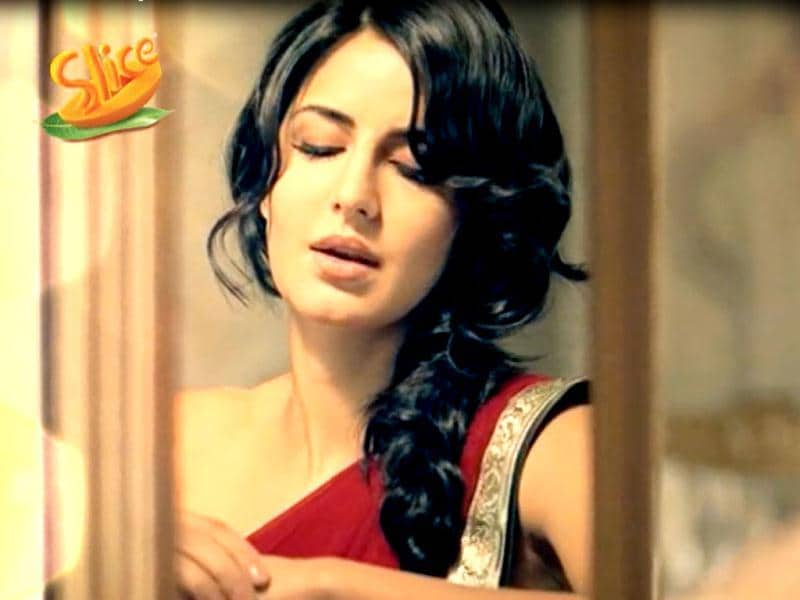 Katrina Kaif sports an ethnic look for her latest Slice campaign Ab Ras Barsega 2012.