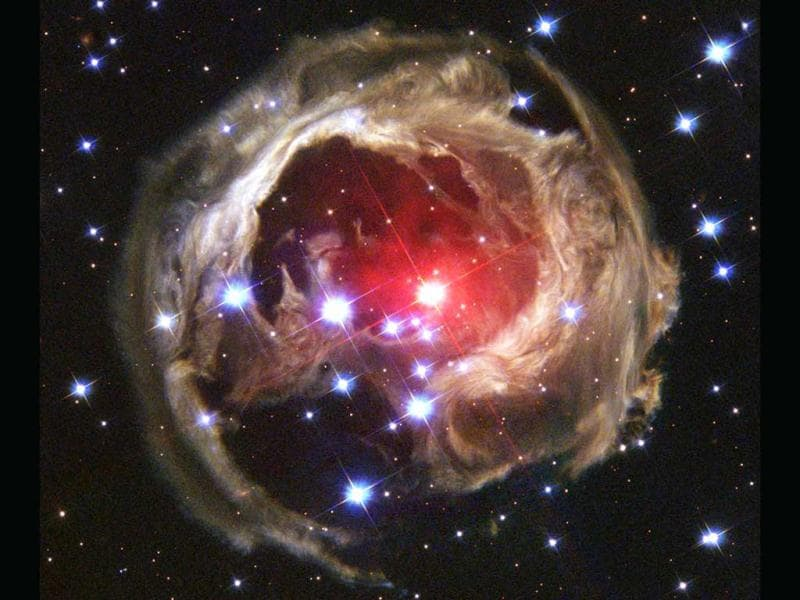 Star V838 Monocerotis's (V838 Mon) light echo, which is about six light years in diameter, is seen from the Hubble space telescope in this in this February 2004 handout photo released by NASA. It became the brightest star in the Milky Way Galaxy in January 2002 when its outer surface greatly expanded suddenly. Reuters/File