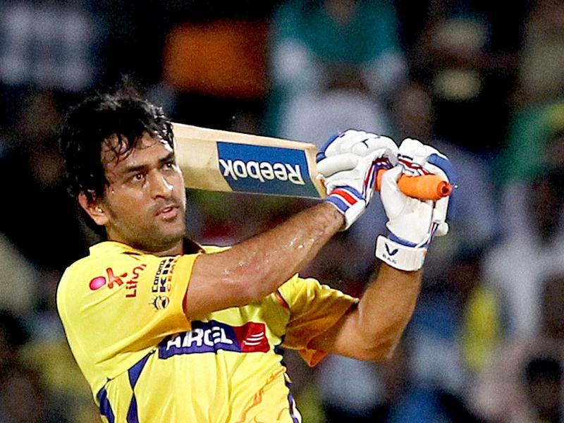 Chennai Super Kings' skipper MS Dhoni plays a shot against Pune Warriors during the IPL-5 match in Chennai. (PTI PhotoR Senthil Kumar)