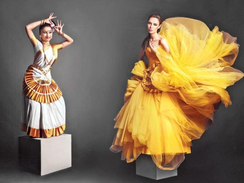TWO BY TWO: Whether it's the central fanning of the Shantanu & Nikhil gown that matches Anjali's Mohiniattam costume, the ode to gold in its colour shades, or the quiet volume of its folds, the inadvertent inspiration is evident.